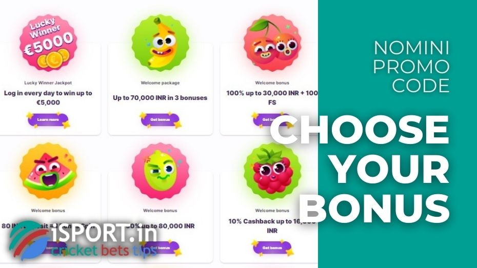 Nomini Promo Code - Choose Your Bonus