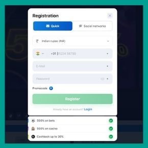 Open the registration form on the 1win website